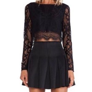 Lovers + Friends Lace Long Sleeved Crop NWT - XS